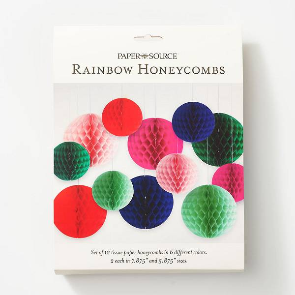 Set of 12 rainbow honeycombs in 6 different colors, with 2 of each color in 7.875