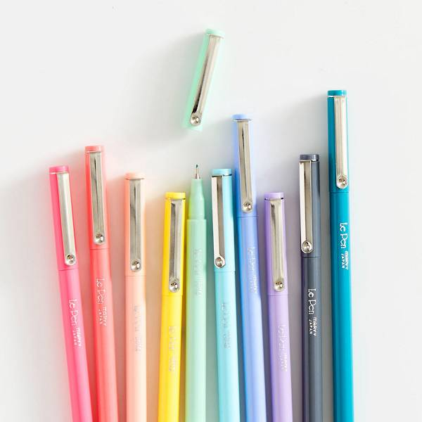 Fine point pens by LePen in pastel shades.