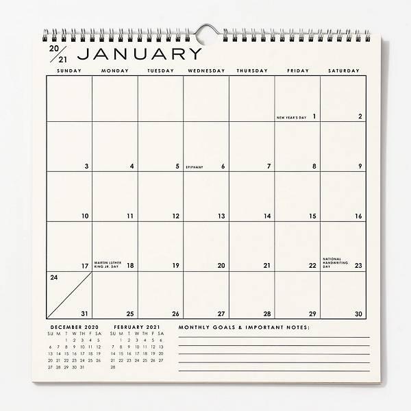 2020-2021 Classic Grid Calendar