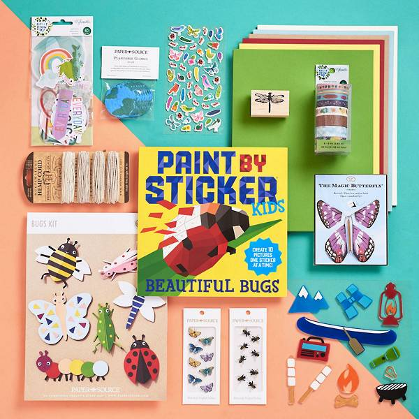 Contents of the backyard explorer craft box, including Butterfly Stickers, Bee Stickers, Summer Gel Clings, Flying Magic Butterfly and more