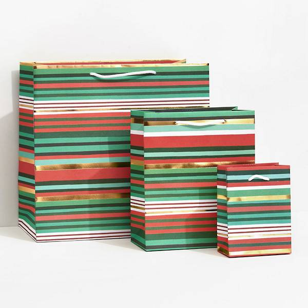 Holiday Stripe design on 3 different sized gift bags
