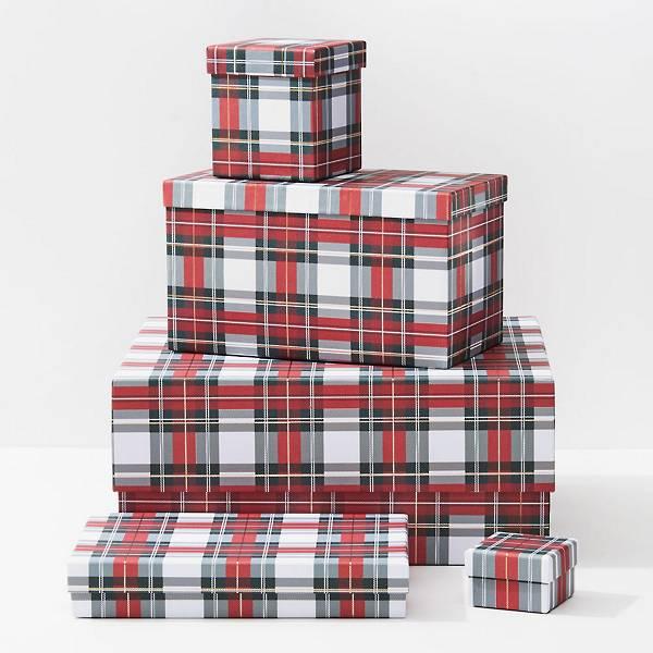 Holiday White Stewart Tartan Gift Boxes
