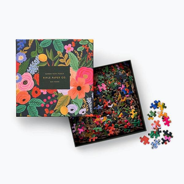 Colorful floral-themed jigsaw puzzle by Rifle Paper Co.