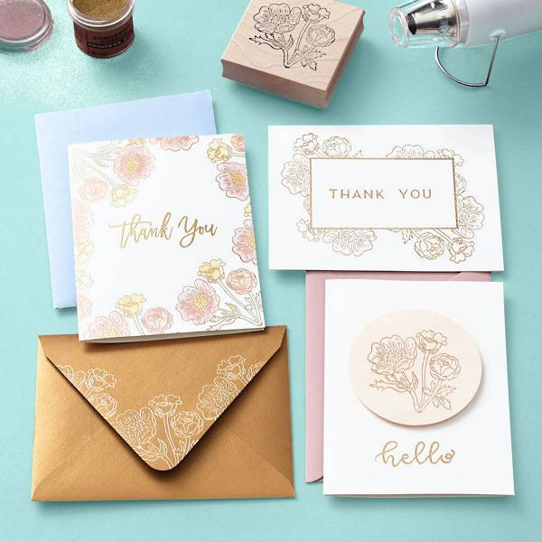 Various stationery customized with stamps and heat embossing