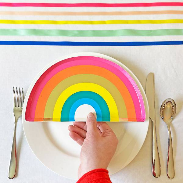 Colorful rainbow party plates.