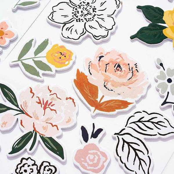 Card stock floral illustrated stickers.