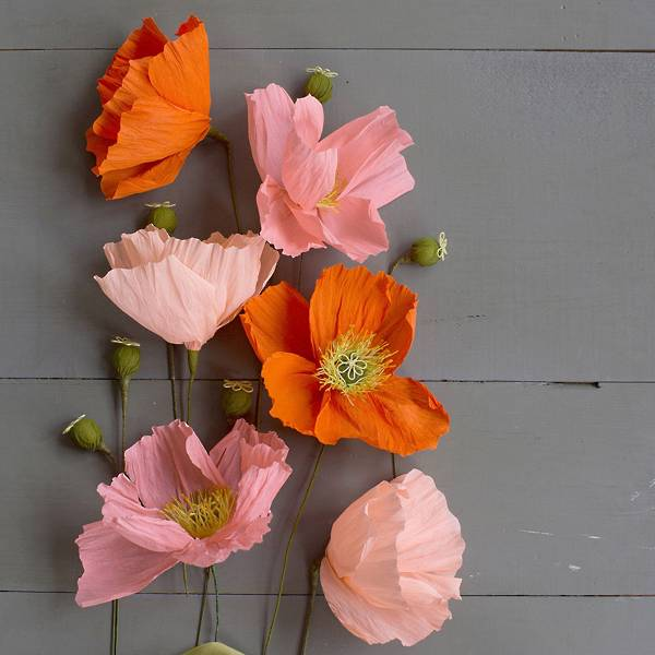 Beautiful crepe paper poppies in shades of pink and orange.
