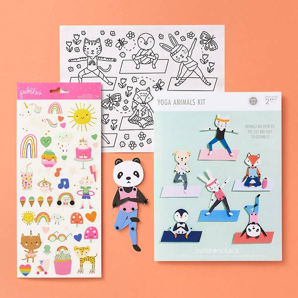 Curated bundle of stickers and cute yoga animals kit.
