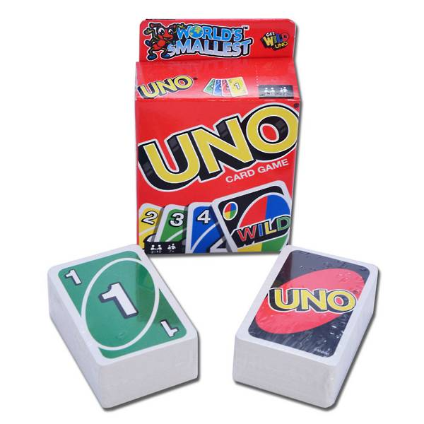 Uno game scaled down to a miniature scale.