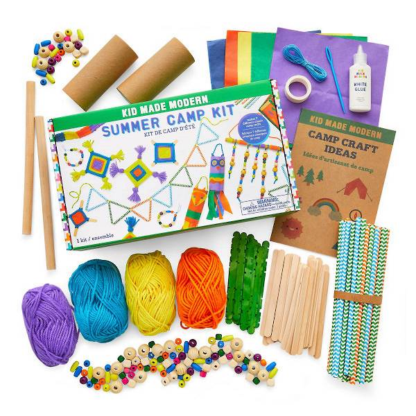 Summer camp kit full of colorful beads, 4 spools of yarn, and patterned straws used to create 7 different classic camp crafts.