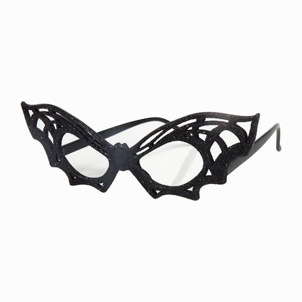 Black glittery glasses with the frames shaped like a bat.