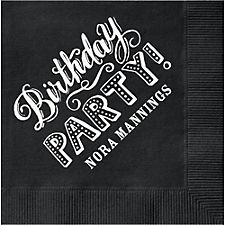 Chalk Birthday Party Custom Cocktail Napkins