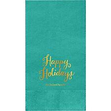 Happy Holidays Script Custom Guest Napkins