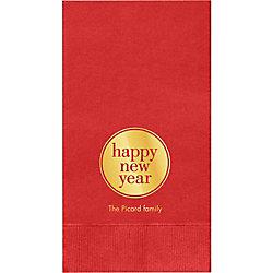 Happy New Year Circle Custom Guest Napkins