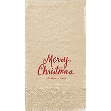 Merry Christmas Script Custom Guest Napkins