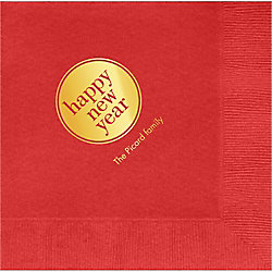 Happy New Year Circle Custom Lunch Napkins