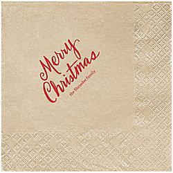 Merry Christmas Script Custom Lunch Napkins