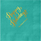 Happy Holidays Script Custom Cocktail Napkins