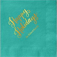 Happy Holidays Script Custom Cocktail Napkins