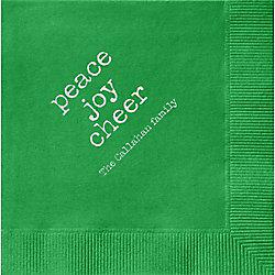 Peace Joy Cheer Custom Cocktail Napkins