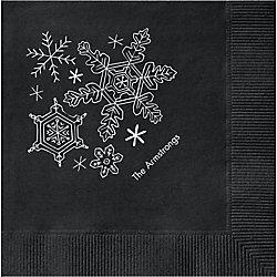 Snowflakes Custom Cocktail Napkins