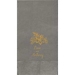Golden Blooms Custom Guest Napkins