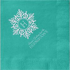 Snowflake Monogram Custom Cocktail Napkins