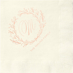 Wreath Monogram Custom Cocktail Napkins