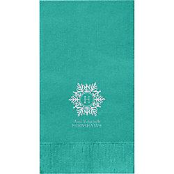 Snowflake Monogram Custom Guest Napkins