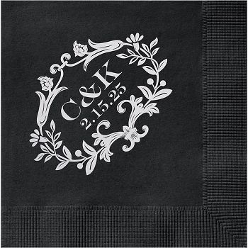 Floral Frame Custom Cocktail Napkins