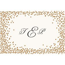 Gold Confetti Custom Placemats - Monogram