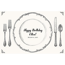 Place Setting Custom Placemats - Script Birthday