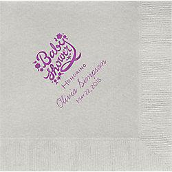 Floral Script Baby Shower Custom Lunch Napkins
