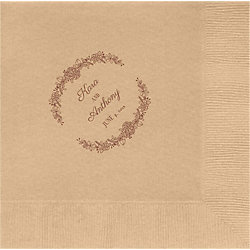 Watercolor Laurel Frame Custom Lunch Napkins