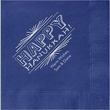 Hanukkah Chalkboard Custom Cocktail Napkins