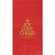 Joy Love Cheer Custom Guest Napkins