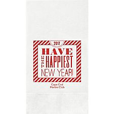 New Year Typography Custom Guest Napkins