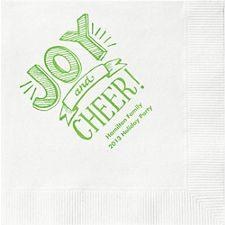Joy and Cheer Custom Cocktail Napkins
