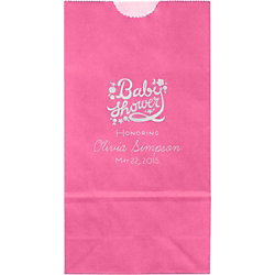 Floral Script Baby Shower Small Custom Favor Bags