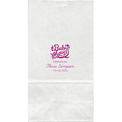 Floral Script Baby Shower Large Custom Favor Bags
