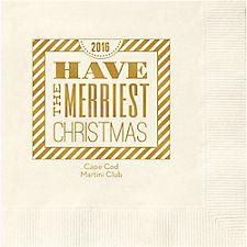 Christmas Typography Custom Cocktail Napkins