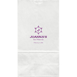 Decorative Floral Star Mitzvah Large Custom Favor Bags