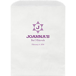 Decorative Floral Star Mitzvah Custom Wax Lined Bags