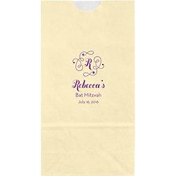Flourish Monogram Mitzvah Small Custom Favor Bags