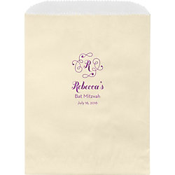Flourish Monogram Mitzvah Custom Wax Lined Bags