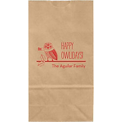 Happy Owlidays Small Custom Favor Bags
