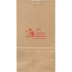 Happy Owlidays Large Custom Favor Bags