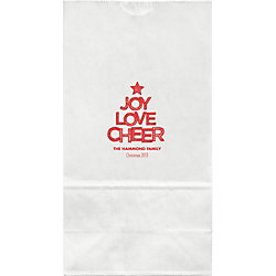 Joy Love Cheer Large Custom Favor Bags