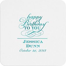 Script Birthday Custom Coasters