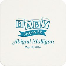 Blocks Baby Shower Custom Coasters